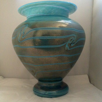 Art Nouveau Blue Silberband Vase Attributed to Fritz Heckert