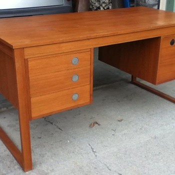 Circa 1960s  Mid Century Danish Modern Teak Desk by Dyrlund 