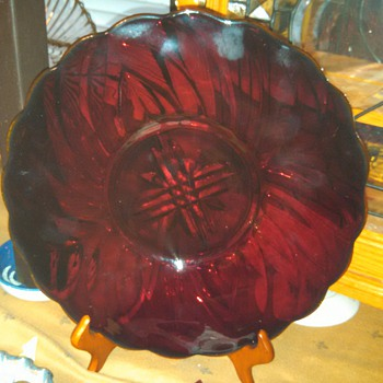 Red Glass Plate  - Glassware