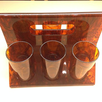 6 tortoise shell acrylic drink tumblers and carrier