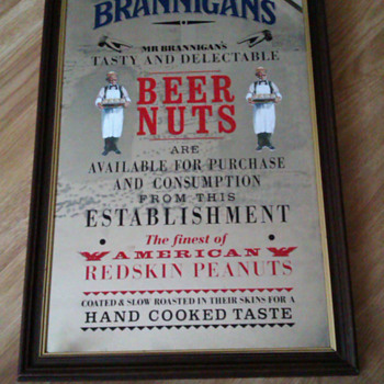Old Brannigans Beer Nuts Pub Glass advertising Mirror - Advertising