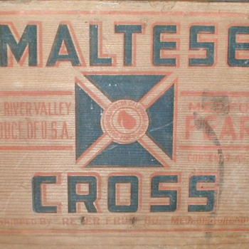 Maltese Cross Wood Fruit Crate