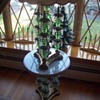"""Funky"" green glass, crystal, bronze and marble 60's marvel!"