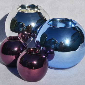 Czech mercury glass candle holders