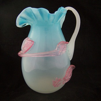 Stevens Williams Blue Glass Creamer Applied Pink Glass - Glassware