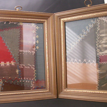 Framed Great-Grandmothers Quilt Pieces - Rugs and Textiles