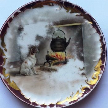 Mystery FRANCE China Porcelain Plate w/ Dog Fireplace Scene