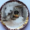 Mystery FRANCE China Porcelain Plate w/ Dog Fireplace Scene