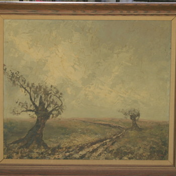 estate find: antique oil painting.......signed by..........? - Visual Art