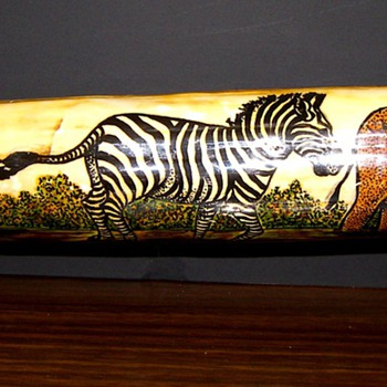 African Tusk Painting - Folk Art