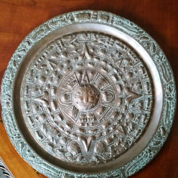 Aztec Calendar Hand Hammered Copper Modern  - Native American