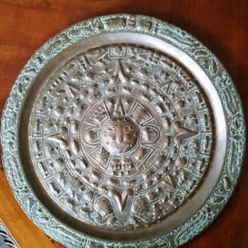 Aztec Calendar Hand Hammered Copper Modern