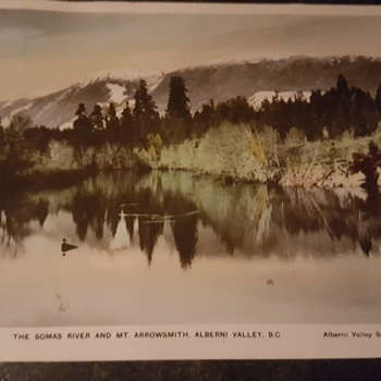 Postcard-The Somas River and Mt. Arrowsmith, Alberni Valley, BC Canada