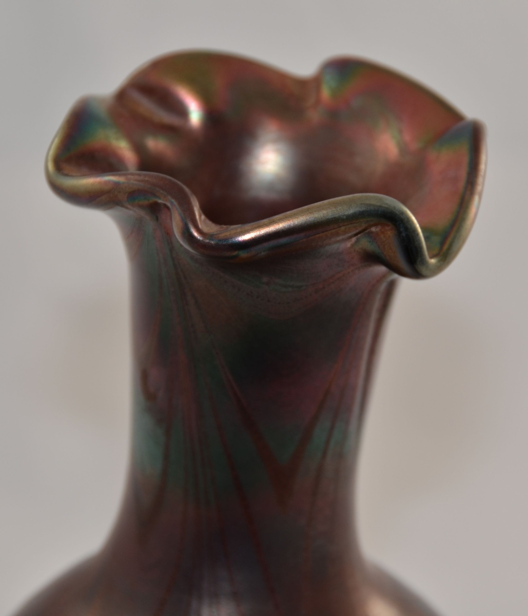 Amethyst Iridescent Art Glass Vase Hand Blown Ruffled Rim ... Irridescent Ruffled Art Glass Vase