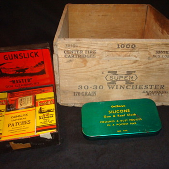 Gun cleaning kit and 30-30 ammo box - Sporting Goods