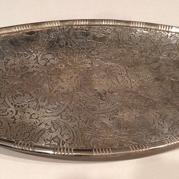 Vintage Silver Plate tray with a hunting scene