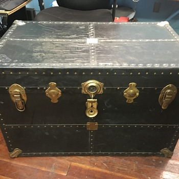 Antique trunk, leather covered, want any info you can tell me