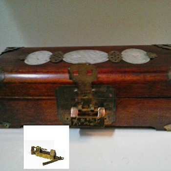 Chinese Rosewood, Brass, and Jade Jewelry Music Box/Marked Shanghai China/Circa Mid-20th Century