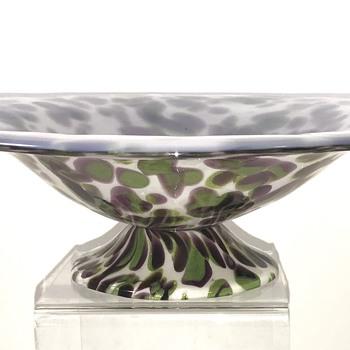 Loetz late period bowl, Opal m. violett u. stahlgrau Kröseln, ca. 1928 - Art Glass