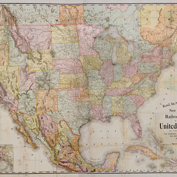 Rand McNally 1901 Railroad Map of the Continental United States - Railroadiana