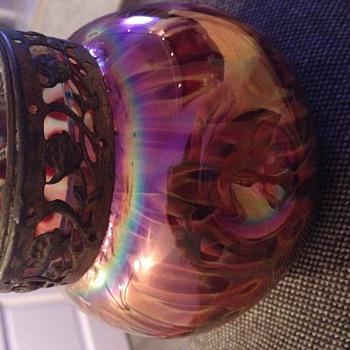 Bohemian Vase with Flower Frog - Art Glass
