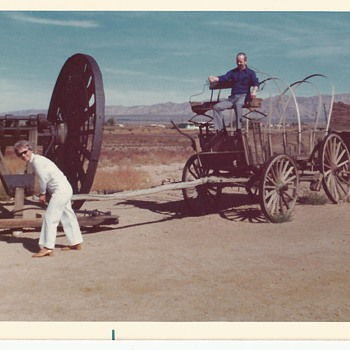 My Folks having a bit of Fun with a Covered Wagon - Photographs