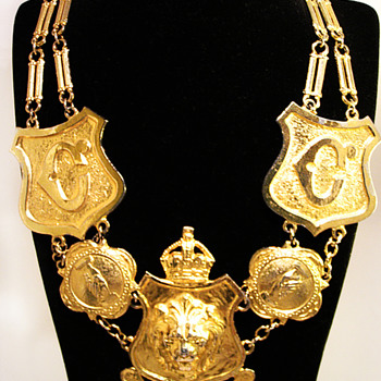 Vintage Accessocraft N.Y.C. Lion Shield Necklace - Costume Jewelry