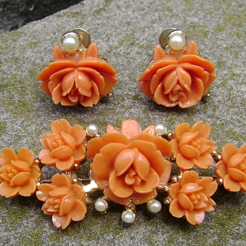 Celluloid Brooch and Earrings - Costume Jewelry