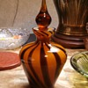Amber/brown Swirled Glass Bottle w/stopper