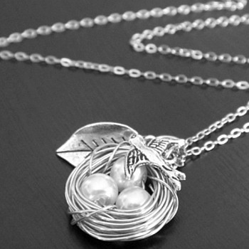 Sterling Silver Bird, Leaf & Nest With Eggs