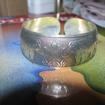 Silver elephant cuff bracelet