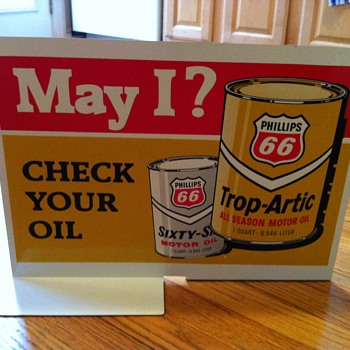 Phillips 66 Gas Pump Double-Sided Tin Sign - Advertising