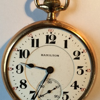 Hamilton 992 gold pocket watch, 21 jewals