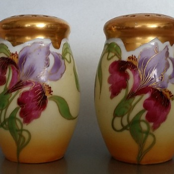 E. Feix Gold Gilt Iris Salt and Pepper Shakers Art Nouveau?