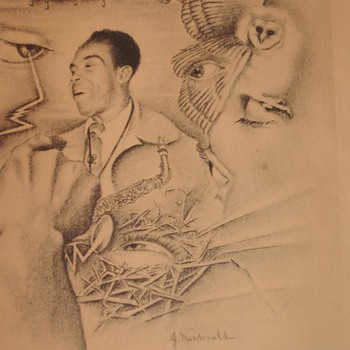 "Charlie Parker ""The Bird"" Jazz Saxophone Player from the 40's signed by Artist J. McDonald  - Music"