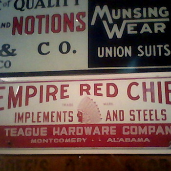 Empire red chief porcelain sign