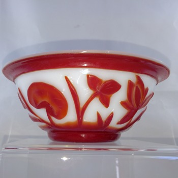 Antique Peking Cameo Red White Opaque Bowl  - Asian