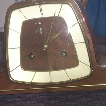 German 1970's clockwork clock with an Art Deco influence, wood, brass and other materials working condition. - Clocks