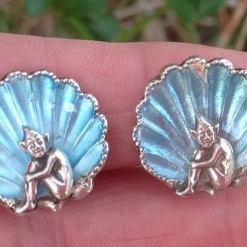 Bernard Instone Enamel and Pixie earrings - Art Deco