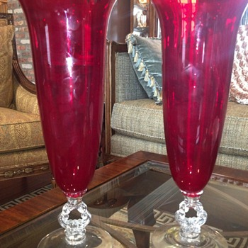 "Pair of Cambridge 14"" Carmen vases - Glassware"