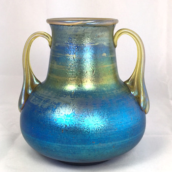 "Loetz Cobalt ""Norma"" Two-Handled Vase. 5.5"" Tall. Circa 1918+"
