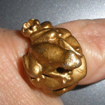 Frog On a Lily Pad Ring or Frog Prince Ring - Costume Jewelry