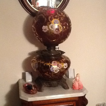 Cranberry glass enameled GWTW lamp. ... Gone with the wind
