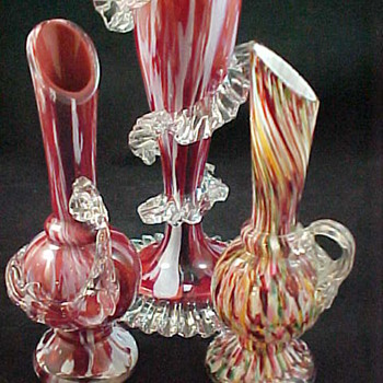 Antonin Rückl & Sons Bohemian Glass Vase & Ewers - Red lined Oxblood Red & White Spatter Glass and Rainbow Honeycomb Decor