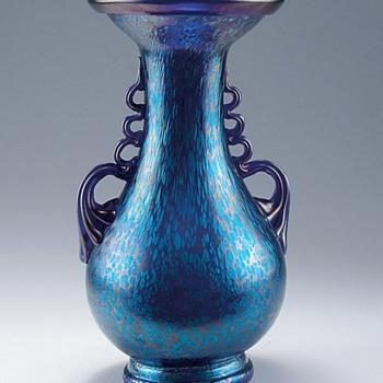 Loetz Cobalt Papillon Vase w/Handles - Art Glass