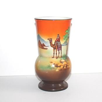 Desert scene vase. Man on a camel vase ...Staffordshire 1930?