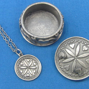 "Vintage Pewter-look Set - Necklace - Pin - Earrings - In Box by Torino - Box is 1 1/8"" in diameter - Costume Jewelry"
