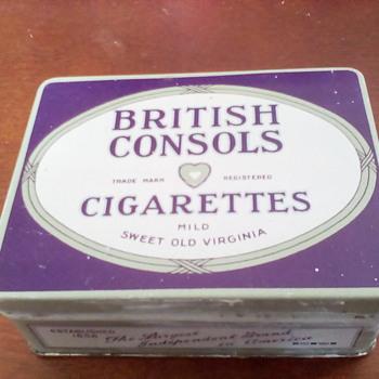 British Consols Cigarette Tin - Tobacciana