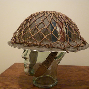 British WWII cammo and netted steel helmet. - Military and Wartime