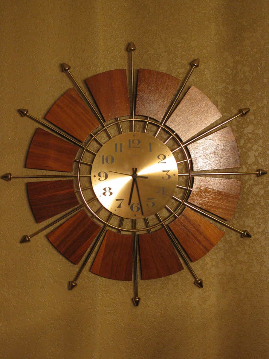 Mid Century Modern Teak Forestville Sunburst Wall Clock  Collectors Weekly